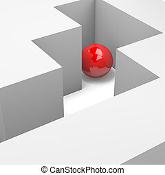 Wrong Way - Labyrinth with a Red Ball 3D Illustration Wrong...