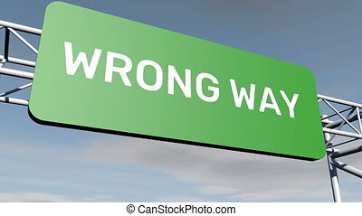Wrong Way road sign animation
