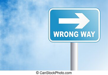 wrong way sign against a sky background