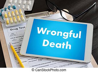 wrongful, halál, orvos, beszél, és, türelmes, orvosi, munka at, hivatal