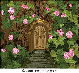 wrota, zamek, elfy, magia