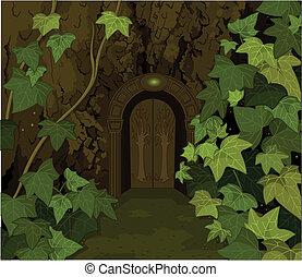 wrota, zamek, magia, elfy