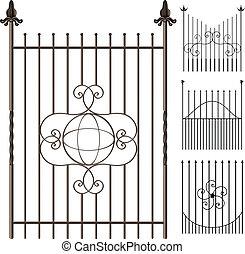 Wrought iron fence set