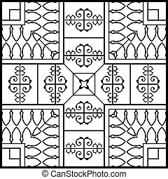 Wrought Iron Fireplace Grill Vector Art