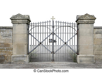 wrought-iron gate and wall - entrance of a graveyard with a...
