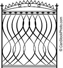 Wrought Iron Gate, Ornamental Design Vector Illustration
