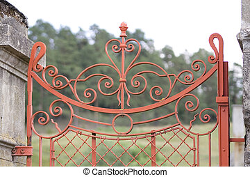 wrought iron gate - red and old wrought iron gate
