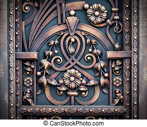 wrought-iron gates, ornamental forging, forged elements close-up