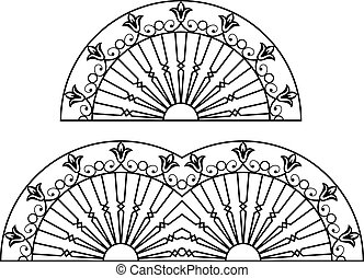 Wrought Iron Grill, Gate, Door, Fence, Window, Railing Design Vector Art