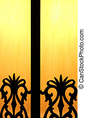 Wrought iron light - Wrought iron and glass light fixture