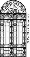 Retro-styled wrought iron portal black silhouette