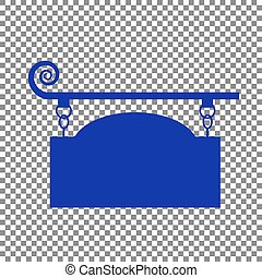 Wrought iron sign for old-fashioned design. Blue icon on transpa