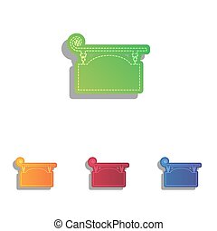 Wrought iron sign for old-fashioned design. Colorfull applique icons set.