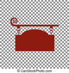 Wrought iron sign for old-fashioned design. Maroon icon on trans