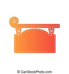 Wrought iron sign for old-fashioned design. Orange applique isolated.