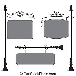 Wrought Iron Signage Vector Art