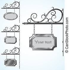 Vector wrought iron high detailed signs for old-fashioned design