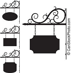 wrought iron signs for old-fashioned design - Vector wrought...