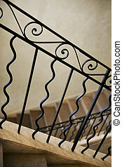 Wrought iron stair railing - Home interior and wrought iron...