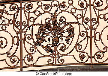 wrought iron - details of structure and ornaments of wrought...