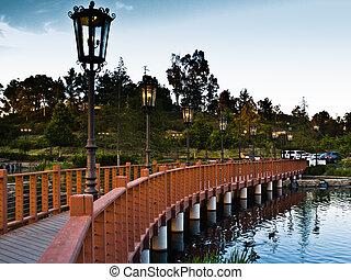 Wrought Iron Street Lanterns on a Footbridge