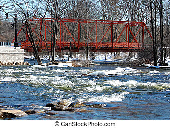 Wrought iron truss bridge, river view