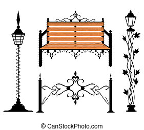 Wrought iron vintage signs and decor elements