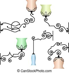 Wrought Iron Wall Lamp Vector Illustration