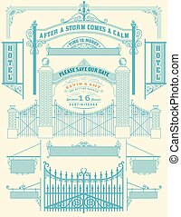 Wrought iron wicket and Wedding invitation, fence and gates gril