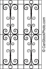 Wrought Iron Window Design Silhouette Cutout