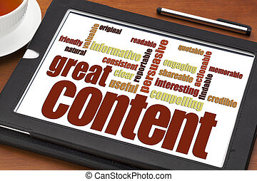 wrting great content concept - great content writing word ...