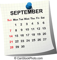 wrzesień, 2014, kalendarz, papier