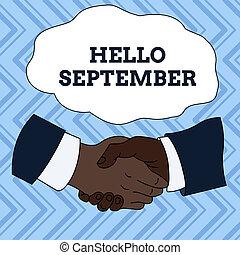 wrzesień, fotografia, znak, potrząsanie, wzmacniacz, koszula, eagerly, tekst, konceptualny, chcąc, handlowy, pokaz, pożądany, ręka, ciepły, miesiąc, formalny, koledzy, september., multiracial, suit., samiec, powitanie