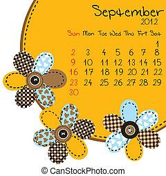 wrzesień, kalendarz, 2012
