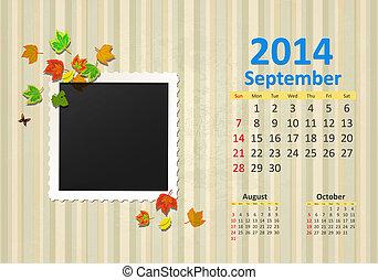 wrzesień, kalendarz, 2014
