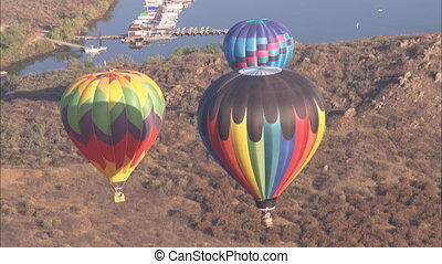 WS Hot Air Balloon high angle - WS of three hot air balloons...