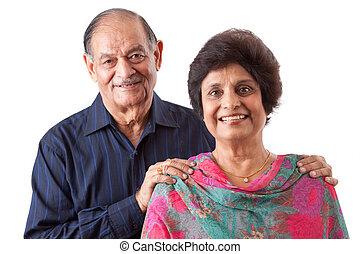 wschód indianin, starsza kobieta, z, jej, mąż