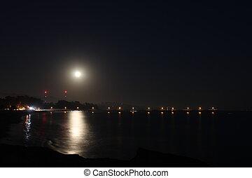 wschód, pełnia księżyca