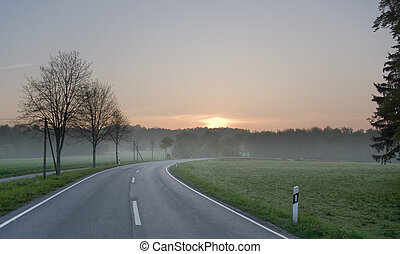wschód słońca, droga