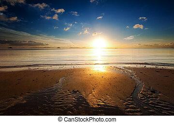 wschód słońca, morze, plaża, niebo, krajobraz., piękny, słońce lekkie, odbicie, w, ocean polewają, natura, tło