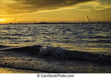 wschód słońca, na, sanibel wyspa