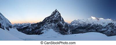 wschód słońca, panorama, szczyt, skalisty, nepal, himalaya