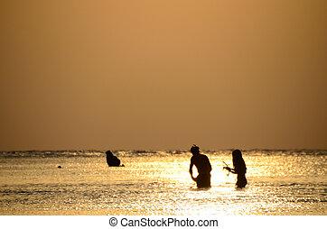 wschód słońca, snorkeling, morze