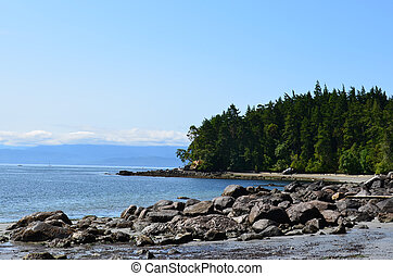 wschód, sooke, wyspa, vancouver, park, shoreline