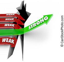wschody, powodzenie, strzały, słaby, jeden, brak, vs, strzała, spadanie, silny