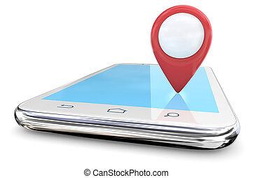 wskazówka, czerwony, smartphone., gps