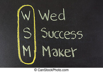 WSM acronym Web Success Maker,color chalk handwriting on...