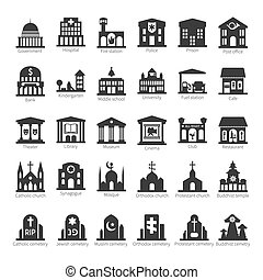 wspólny, zabudowanie, i, miejsca, wektor, ikona, komplet