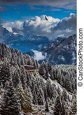 wspaniały, śniegowy krajobraz