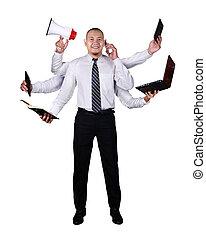 wspaniały, biznesmen, multitasking